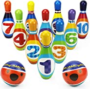 iPlay, iLearn Kids Bowling Toys Set, Toddler Indoor Active Play Game, Soft 10 Foam Pins & 2 Balls, Development, Birthday Part