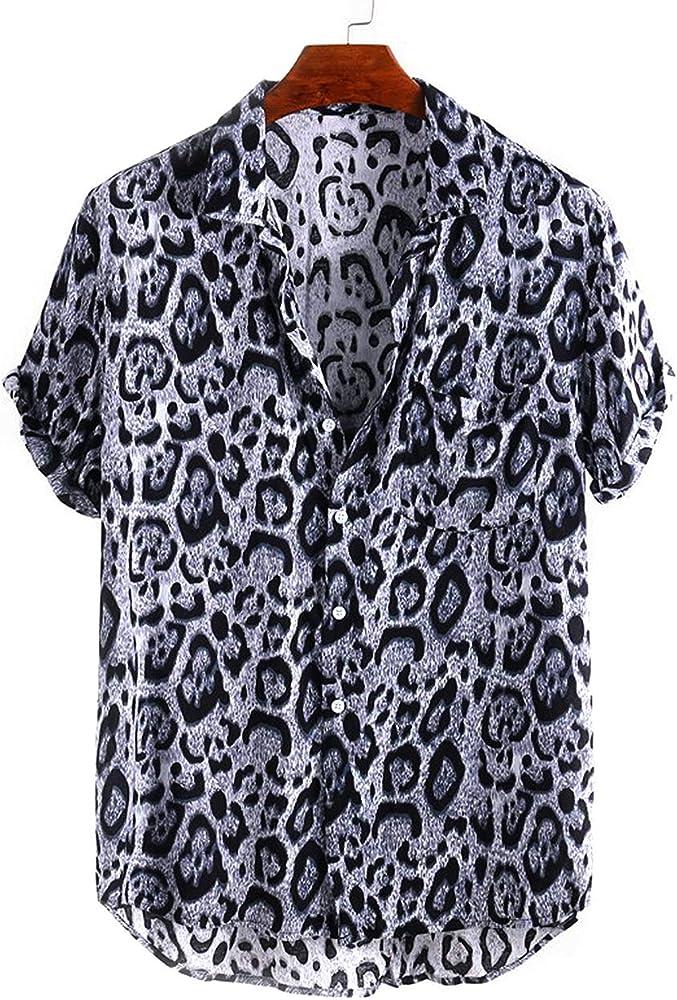 Folima - Camisa de Manga Corta para Hombre, diseño de Leopardo - Negro - X-Large: Amazon.es: Ropa y accesorios