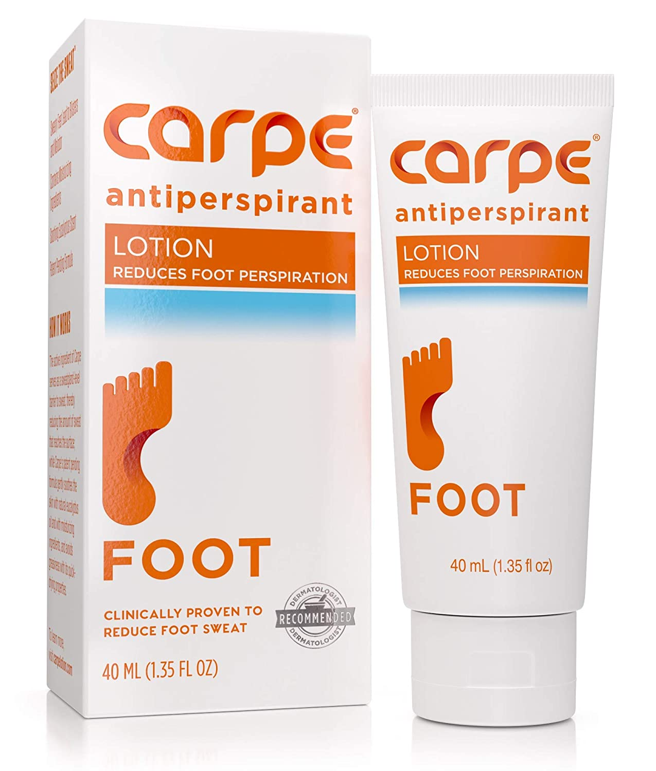 Carpe Antiperspirant Foot Lotion, A Dermatologist-Recommended Solution to Stop Sweaty, Smelly feet, Helps Prevent blisters, Great for hyperhidrosis
