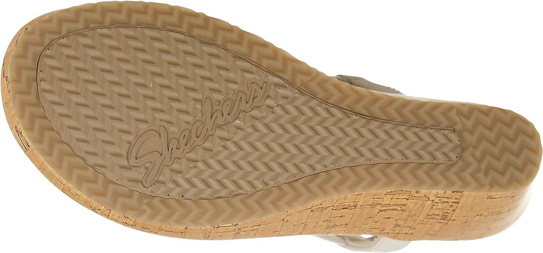 Skechers Damen Beverlee - Date Glam Keilabsatz-Sandale, Parent Gebrochenes Weiß