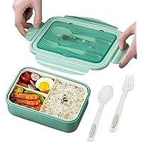 TWBEST Bento Box, Bento Box para niños, Bento Box con 3 Compartimentos y Cubiertos, Bento Box Lunch Box y Ideal Food Box…