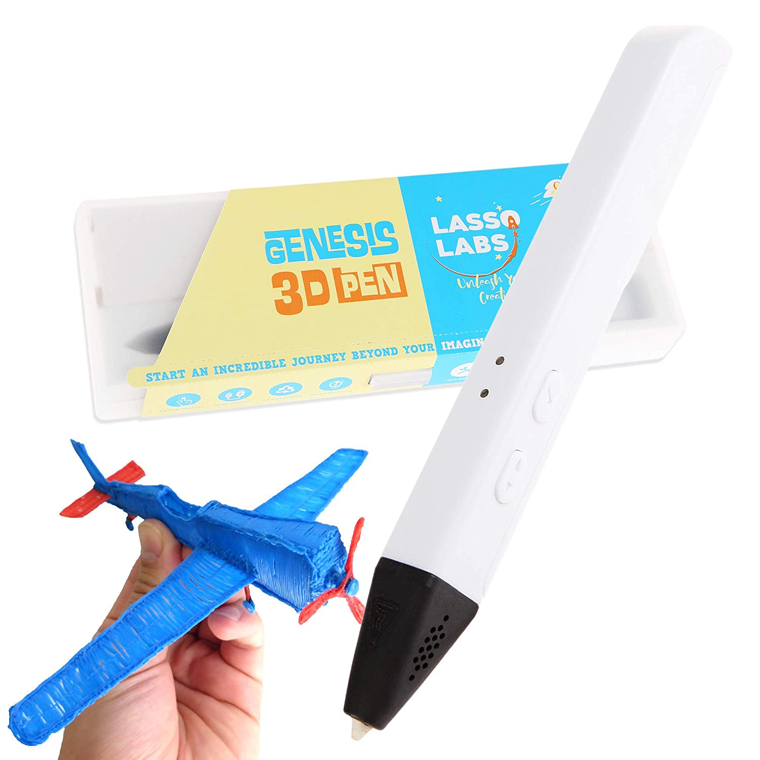 Pearl White Easy to Use and Operate Supports PCL and PLA Filaments Genesis 3D Printing Pen
