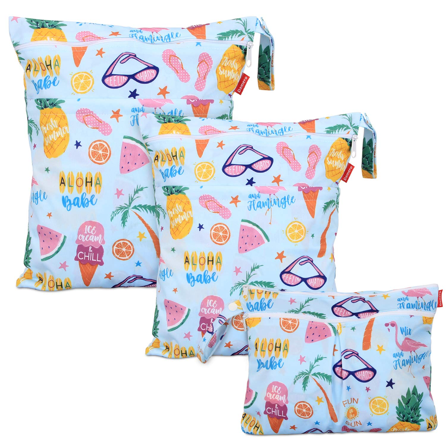 Damero 3 pcs Baby Wet Dry Cloth Diaper Bag, Reusable Wet Dry Nappy Bag, Travel Diaper Organiser Bag for Baby's Nappies, Dirty Clothes and More (Summer Holiday)
