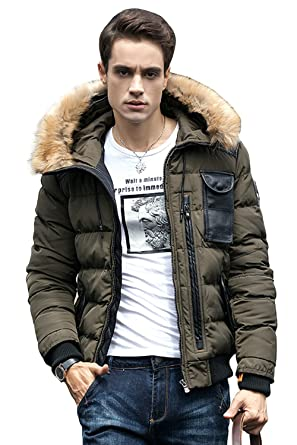 Amazon.com: INFLATION Men's Puffer Jacket Hooded Winter Quilted ...