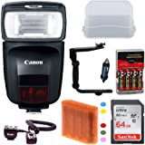 Canon Speedlite 470EX-AI Flash with Advanced Accessory Bundle Including: 64GB Memory Card, Spare Batteries and Charger, Flash Bracket, Off Camera Shoe cord and more (over $40 value!)