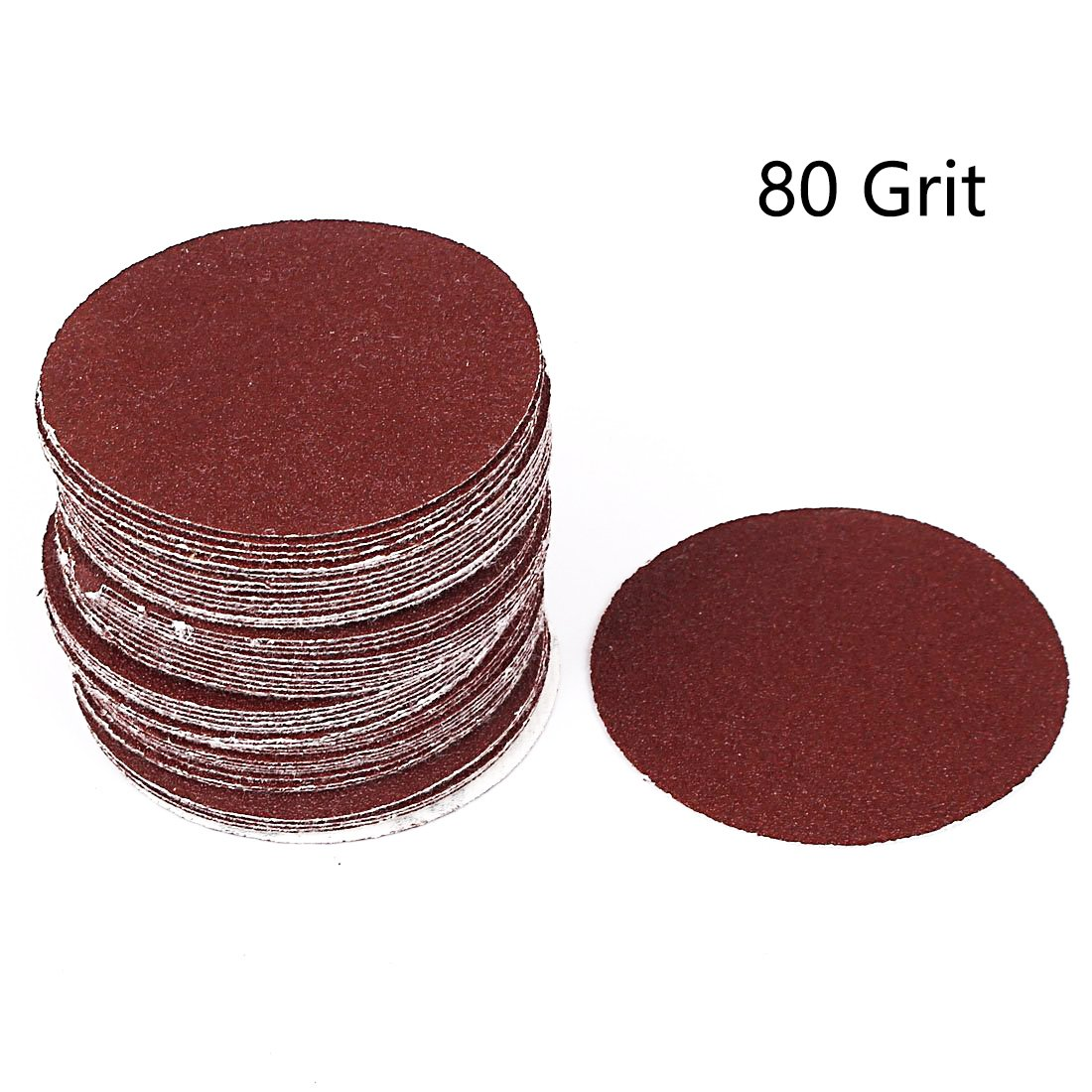 Antrader 100 PCS 3-Inch 80 Grit NO-Hole PSA Aluminum Oxide Sanding Disc Hook and Loop Sandpaper for Drill Grinder Rotary Tools