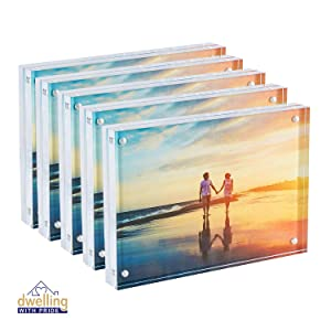 Dwelling With Pride Acrylic Picture Frame | Magnetic Photo Holder | Collage Stand for Family Photographs | Clear Standing Blocks for Office Desk & Side Table | Wedding Gifts | Set of 5-5x7 Inch