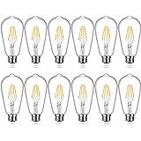 Edison Bulb, Shine HAI Vintage LED Filament Light Bulbs, Warm White 2700K, 470Lumens, Non-Dimmable 4W ST64 Antique LED 40W Equivalent, E26 Base, Pack of 12