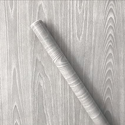 Teemall Light Gray Wood Grain Contact Paper Self Adhesive Sticker Wallpaper Furnitur Cabinets Wardrobe Shelf Liner