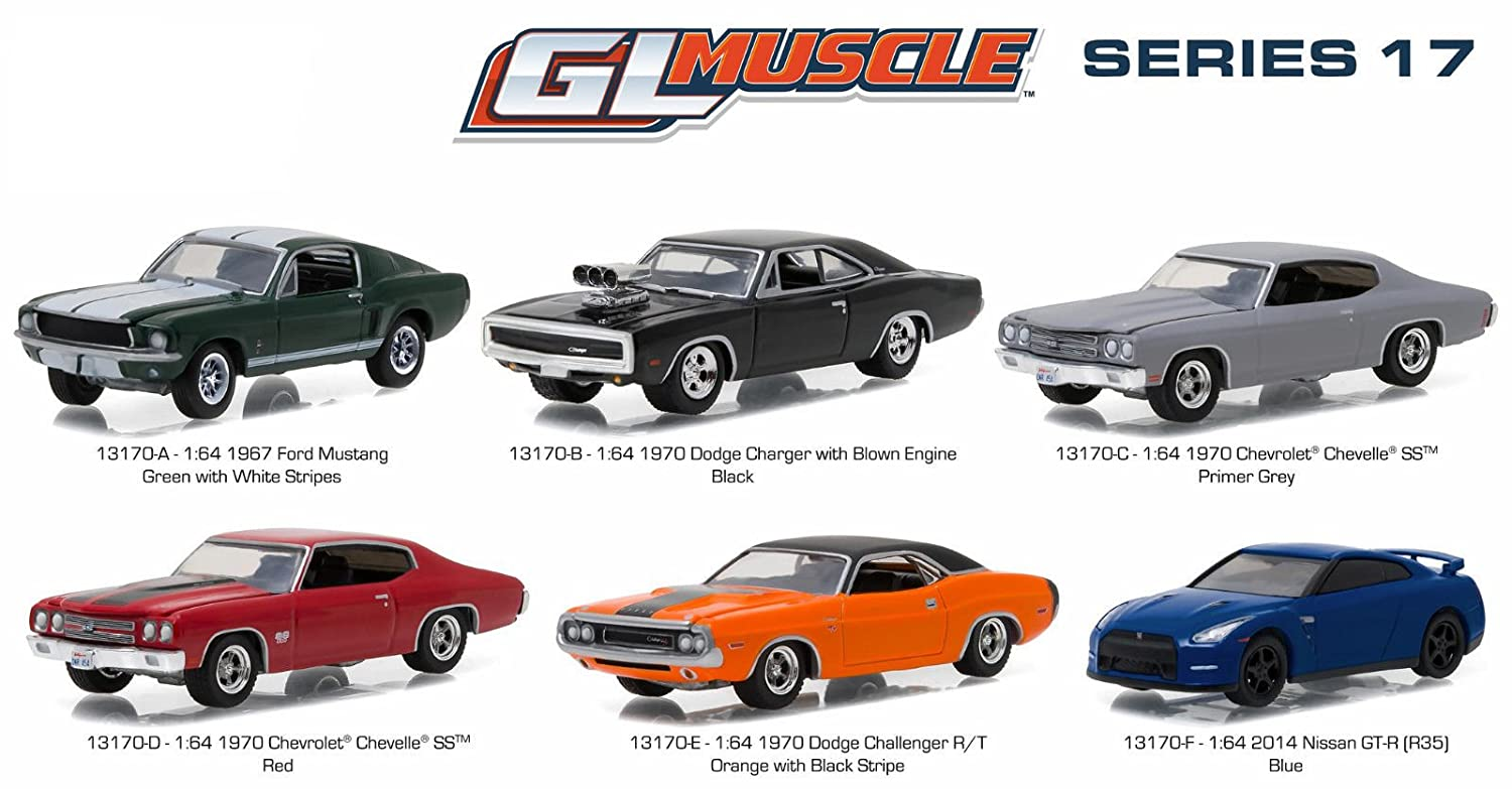 Amazon.com: Greenlight Muscle Series 17, 6pc Diecast Car Set 1/64 ...
