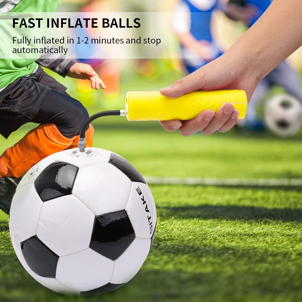 morpilot Inflador Balones Electrico, Mini Bomba de Aire Portátil con Agujas para Baloncesto Futbol Rugby Voleibol Balones y Otras Pelotas Inflables (Batería No Incluida)