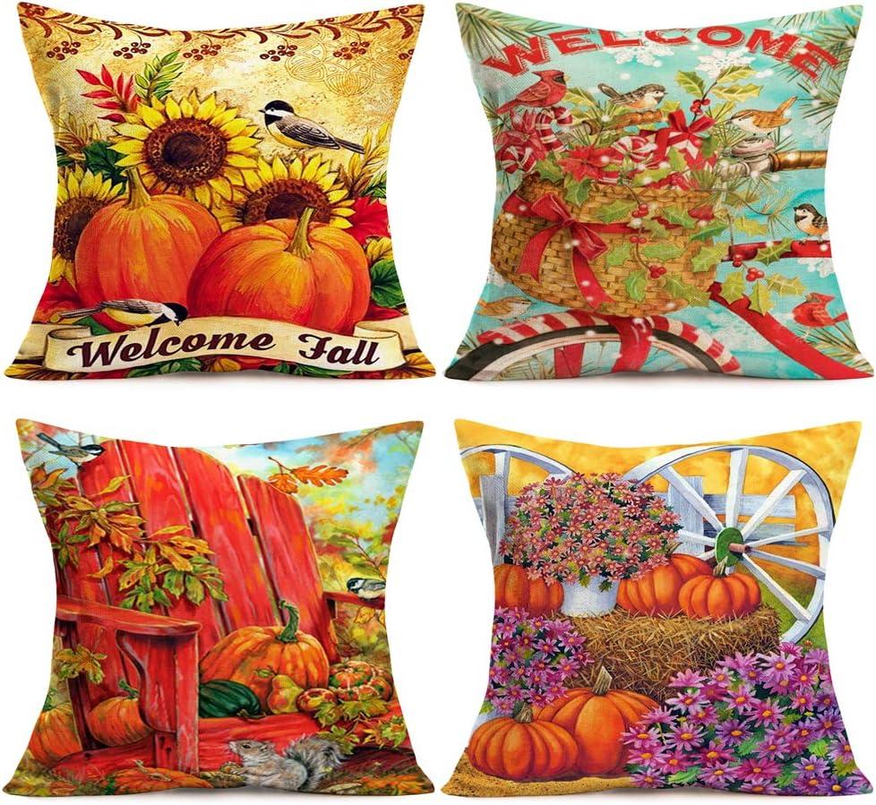 "Smilyard Welcome Fall Throw Pillow Covers Vintage Autumn Pumpkin Sunflower Decorative Pillow Case Cotton Linen Animal BirdSquirrel Farmhouse Pillow Covers Outdoor Decor 18""x18"" Set of 4 (Autumn Set)"