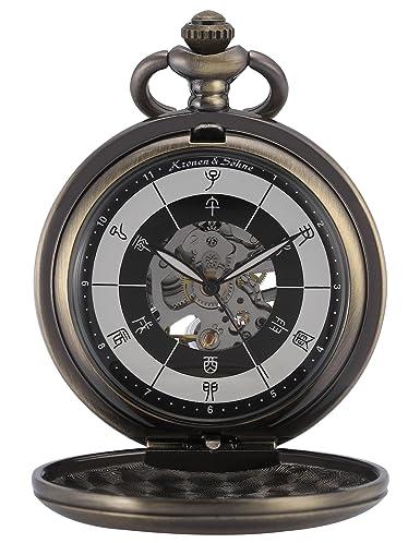 KS Reloj de Bolsillo Hombre con Cadena antiguos Steampunk Esqueleto Mecánico con Caja de Regalo KSP084: Amazon.es: Relojes