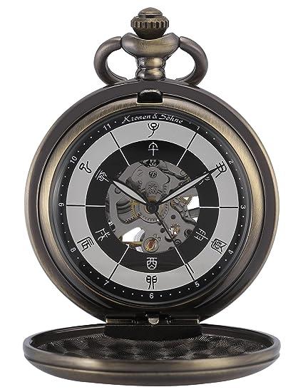 KS Reloj de Bolsillo Hombre con Cadena antiguos Steampunk Esqueleto Mecánico con Caja de Regalo KSP084