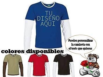 Camisetas Vinilo personalizadas bicolor manga larga camiseta vinilo con textos: Amazon.es: Deportes y aire libre