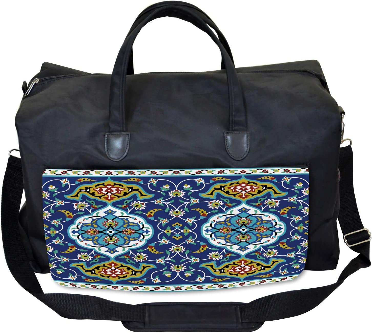 Ambesonne Vintage Gym Bag Large Weekender Carry-on Oriental Tile Effects