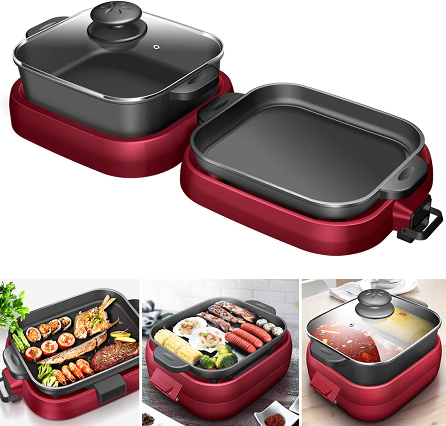 YXMxxm 2-in-1 Electric Grill & Hot Pot, Foldable Roasted Baking Pan Dish Pot,Separately Dual Temperature Control BBQ and Smokeless Shabu-Pot,2000W