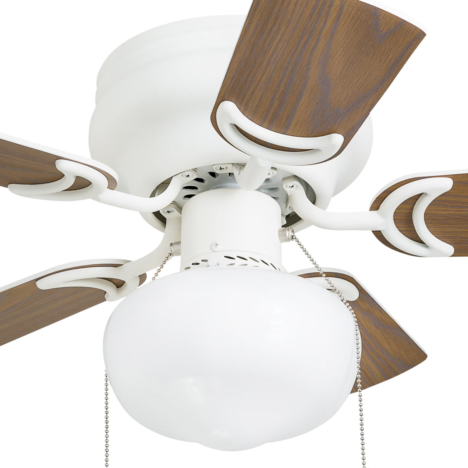 Prominence Home 41530-01 Hero 28'' Hugger Small Ceiling Fan, LED Schoolhouse Globe, Glossy White by Prominence Home (Image #10)