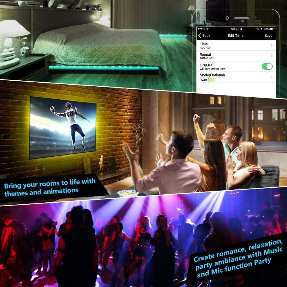 Nexlux LED Strip Lights, WiFi Wireless Smart Phone Controlled Light Strip LED Kit 5050 LED Lights,Working with Android and iOS System,Alexa, Google Assistant by Nexlux (Image #7)