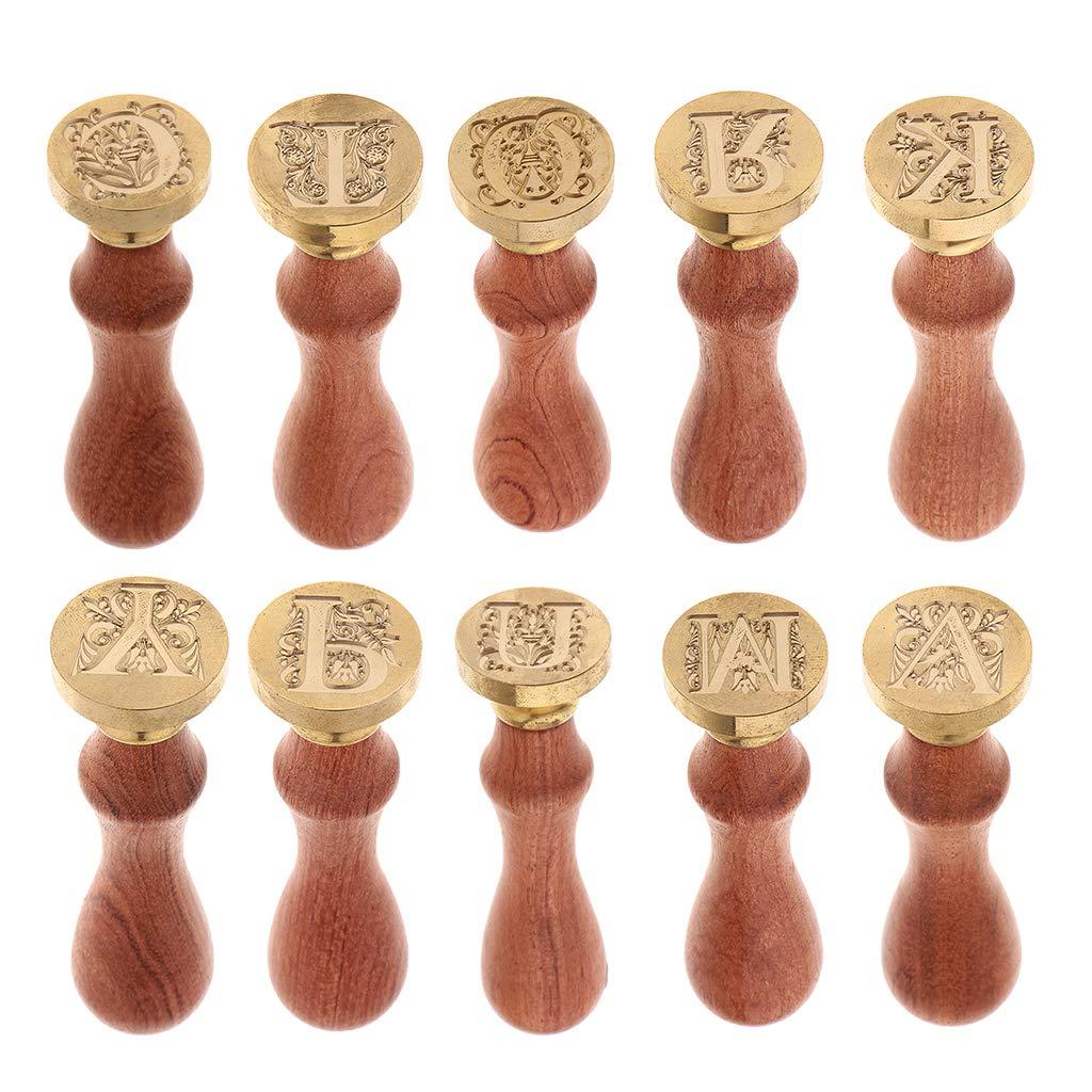 FLAMEER Alphabet Sceau de Cire Poign/ée de Cachet Classique Initial Timbre Manche en Bois Pi/èce de Timbre en M/étal M