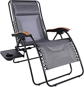 PORTAL Oversized Mesh Back Zero Gravity Recliner Chair, XL Padded Seat Adjustable Patio Lounge Chair with Lumbar Support Pillow and Side Table Support 350lbs (Dark Grey)