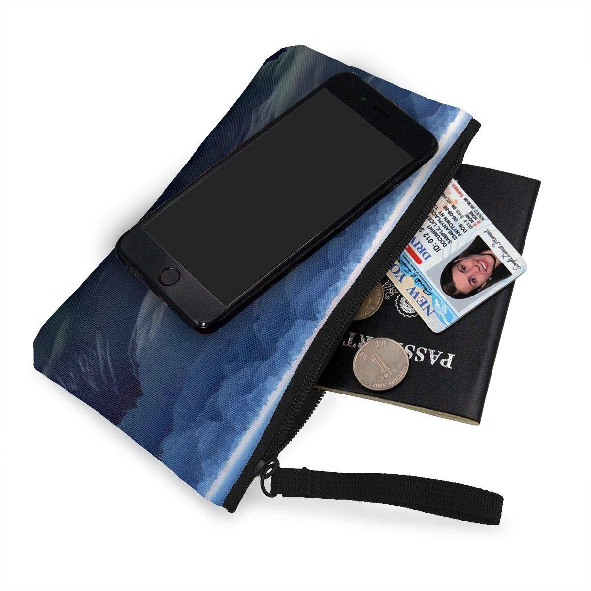 Make Up Bag,Cellphone Bag With Handle Planet Mountains Fantasy World Zipper Canvas Coin Purse Wallet