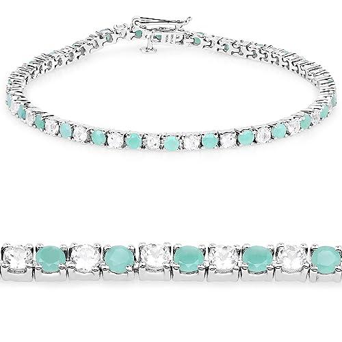 Genuine Emerald and White Topaz .925 Sterling Silver Tennis Bracelet