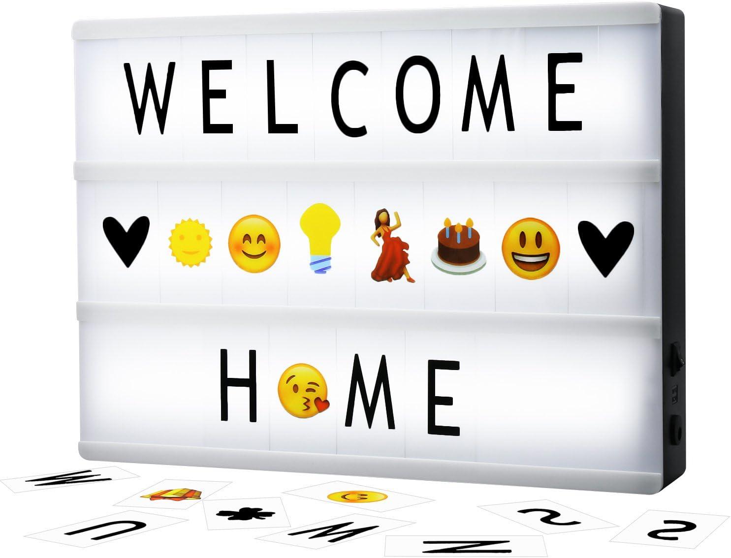 Cinematic Light Box A4 Solotree Caja de Luz Cinematográfica Tamaño A4 con 160 Letras y Emojis ideal para decorar su hogar, boda, cumpleaños y otros eventos especiales: Amazon.es: Iluminación