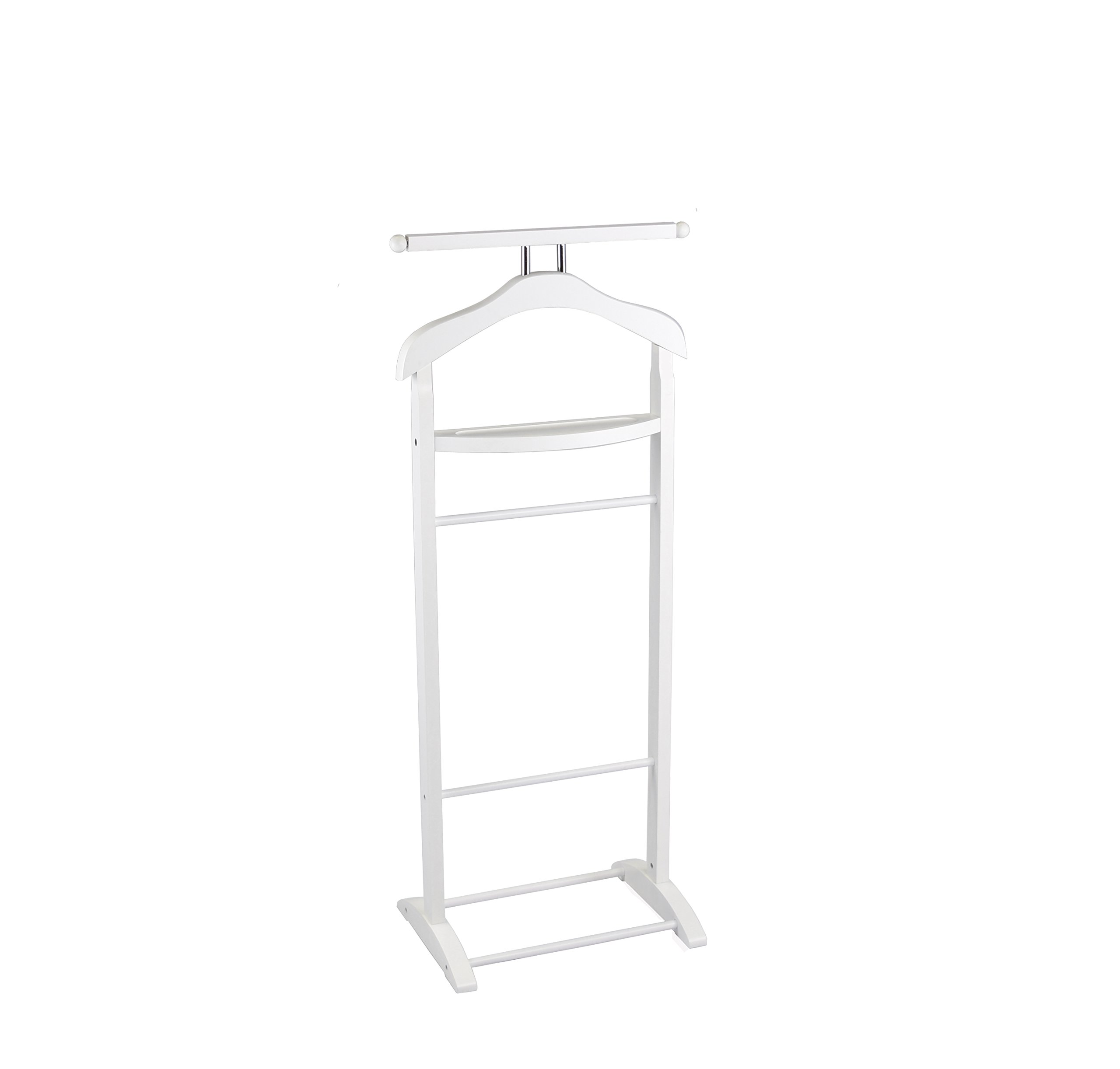 Proman Products VL17015 Knight Valet with Extended Bar and Key Rack, 43.5'', White