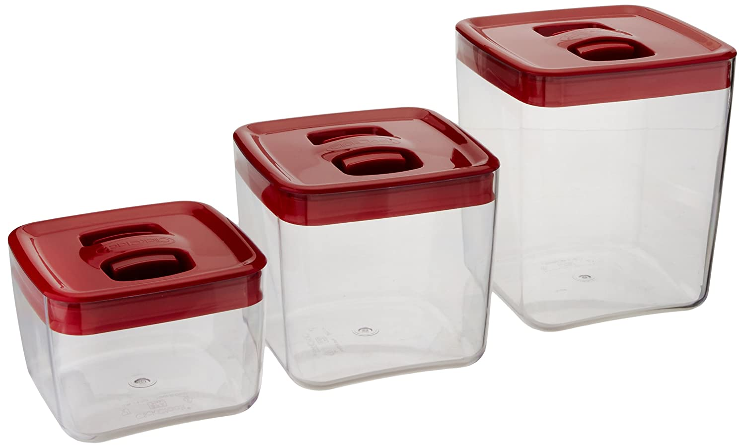 amazon com clickclack cube storage container set of 3 1 2 and amazon com clickclack cube storage container set of 3 1 2 and 3 1 2 quart kitchen storage and organization product sets kitchen dining