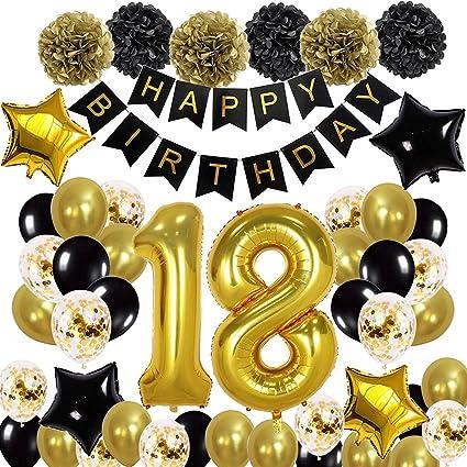 18 Geburtstag Dekoration Schwarzes Gold 18 Geburtstags Deko Schwarzes Gold Mit Happy Birthday Banner Folienballons Konfetti Ballons Latexballons Für Jungen Mädchen Party Dekoration Amazon De Küche Haushalt