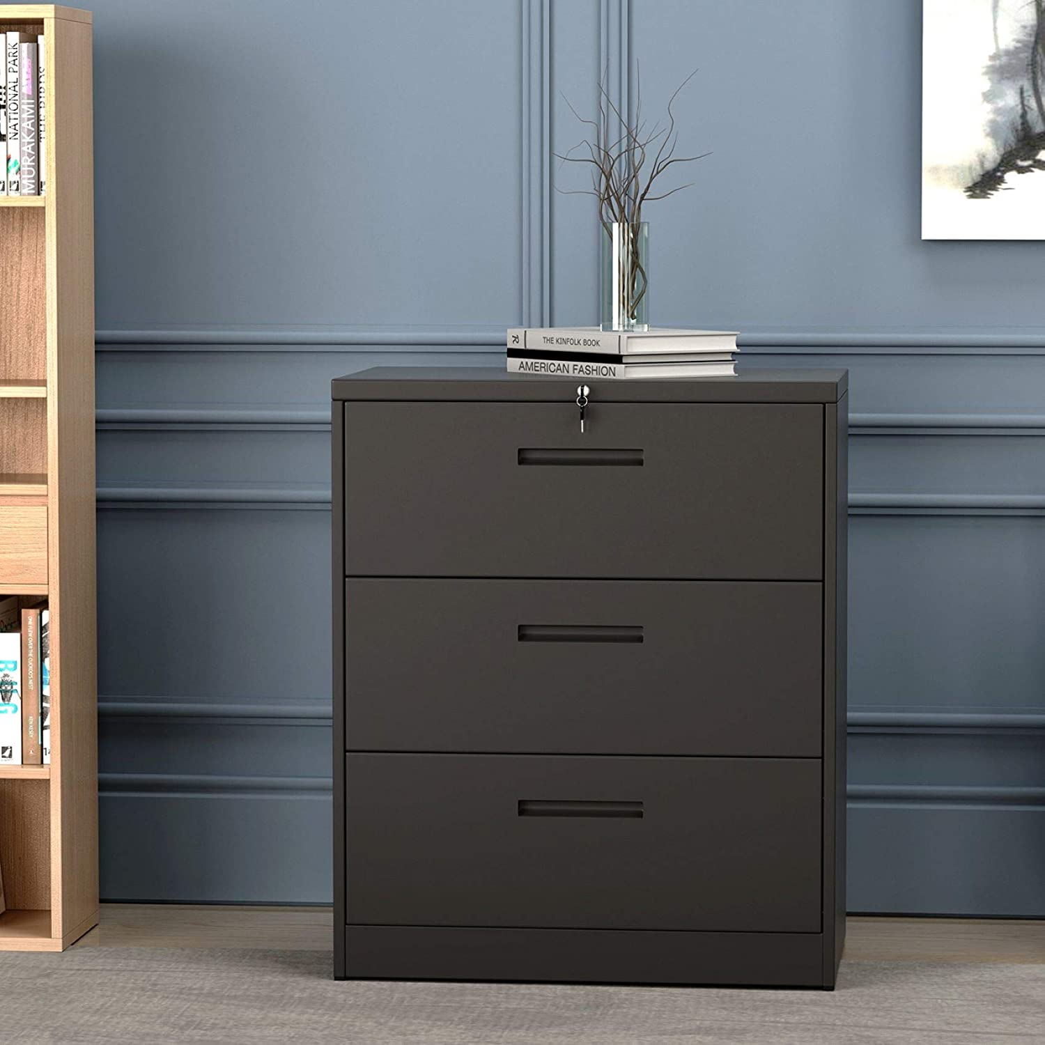 Lateral File Cabinet 3 Drawers with Lock Heavy Duty Metal File Cabinets with Drawers Not Assembled Black 35.4L /×17.7W /×40.3H Black