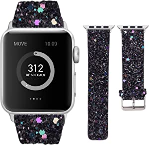 Moonooda Glitter Watch Band Compatible with Apple Watch 38mm 40mm 42mm 44mm Bling Cute Women WristbandSparkle Shiney Smartwatch Bands Strap Compatible with Series SE 6 5 4 3 2 1, Black