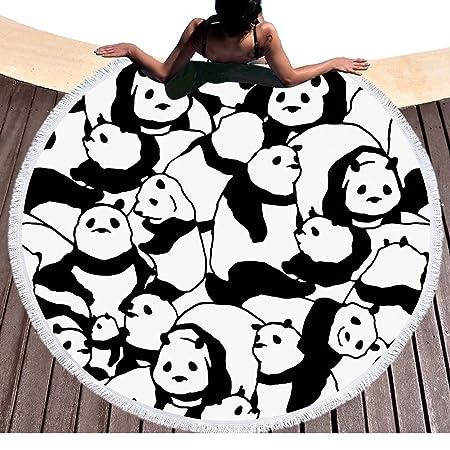 Bonito negras y blancas Pandas redondean Toalla de playa con ...