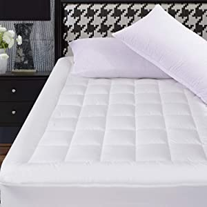 OBOEY King Size Mattress Pad Cover Cotton Breathable Top Pillow Top with Snow Down Alternative Fill Cooling Mattress Topper Quilted (8-21''Fitted Deep Pocket King Size)