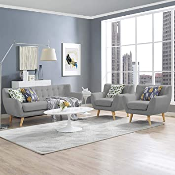 Astonishing Modway Remark Mid Century Modern Upholstered Fabric 3 Piece Sofa And Loveseat Living Room Set In Light Gray Ibusinesslaw Wood Chair Design Ideas Ibusinesslaworg