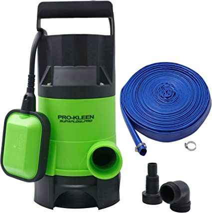 Ponds /& More Pools for Floods Pro-Kleen 400w Submersible Electric Water Pump with Heavy Duty 25m Hose for Clean or Dirty Water with Float Switch Gardens Wells