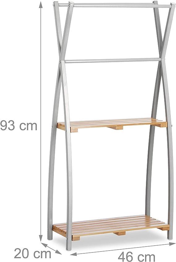 Relaxdays Natur Handtuchhalter stehend X Design 2 Ablagen Handtuchständer Bad HBT 93 x 46 x 20 cm Bambus Stahl Standard