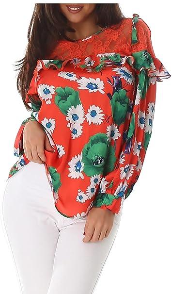 Voyelles Camisa de Las Señoras de La Blusa Blusas Túnica de Manga Larga Jersey de Túnica Blusa de Volantes de Encaje Floral: Amazon.es: Ropa y accesorios