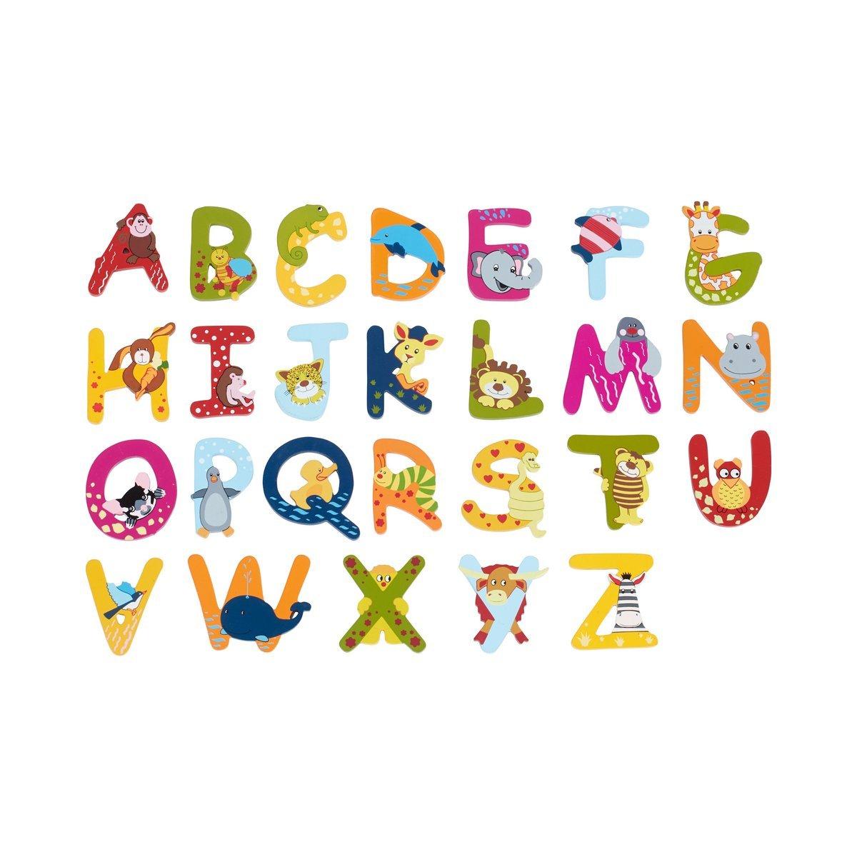 SOLINI lettres en bois avec motifs animaux