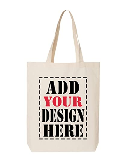 6b9b8597496c3 Amazon.com: DESIGN YOUR OWN Canvas Tote Bag - Add your Picture Photo Text  Print - Reusable%100 Cotton Shopping Bag - Personalized Bag - Custom Canvas  Tote: ...