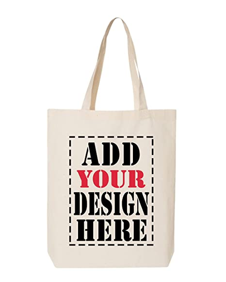 e51679f1436 DESIGN YOUR OWN Canvas Tote Bag - Add your Picture Photo Text Print -  Reusable%100 Cotton Shopping Bag - Personalized Bag - Custom Canvas Tote