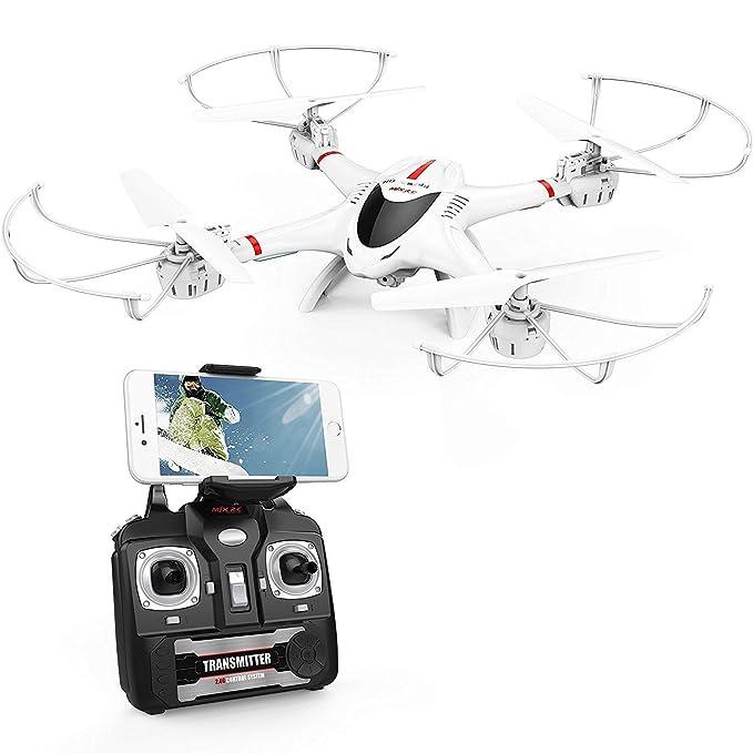 DBPOWER Drone FPV Drone con cámara Wi-Fi Quadcopter RC Drone Niños 3D Flips, Modo sin Cabeza, Estabilización de Altitud, Velocidad 4 Canales 6-Ejes, para niños y Principiantes, Blanco