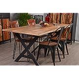 """Table de repas atelier métal et bois recyclé """" Kraft"""" Meuble House"""