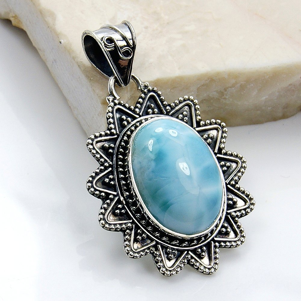 Blue Star Sterling Silver Natural Dominican Larimar Pendant