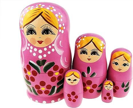 Pretty Pink Handmade 5 Piece Russian Babushka Matryoshka Stacking Nesting Doll