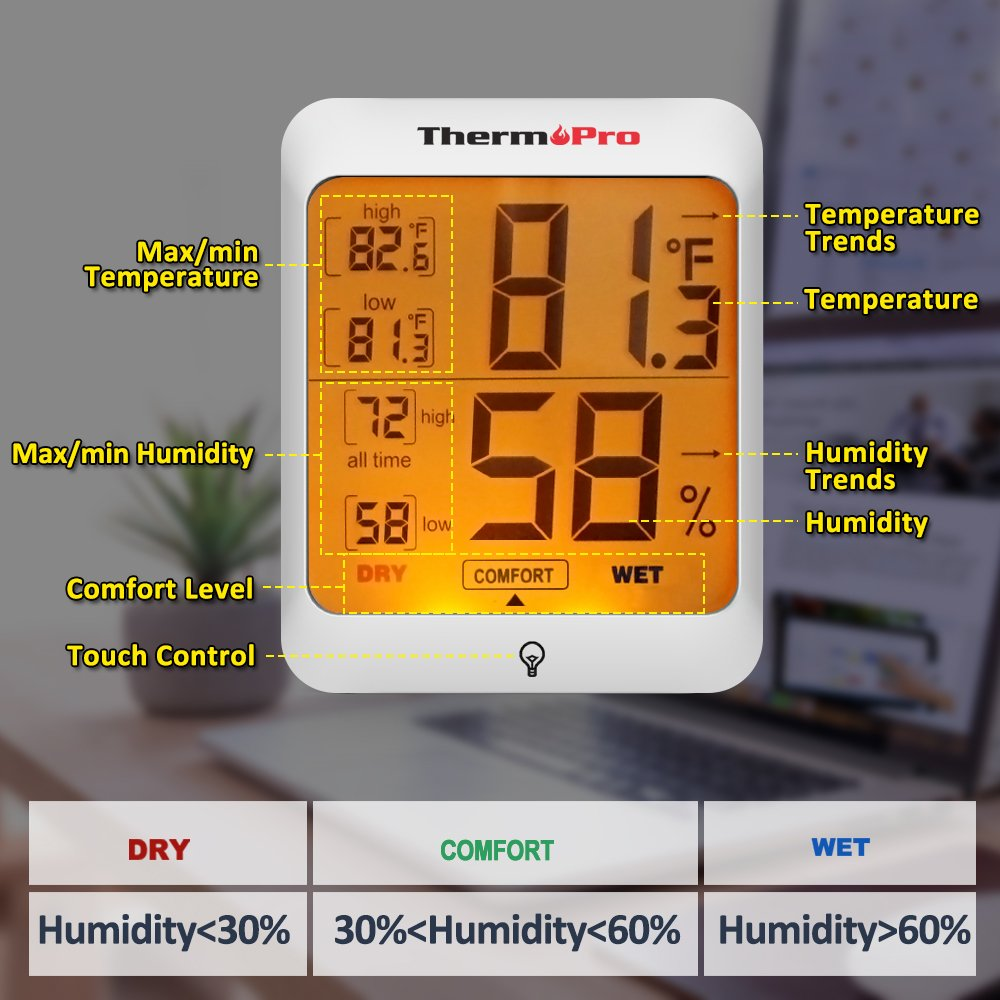 ThermoPro TP53 Hygrometer Humidity Gauge Indicator Digital Indoor Thermometer Room Temperature and Humidity Monitor with Touch Backlight by ThermoPro (Image #5)
