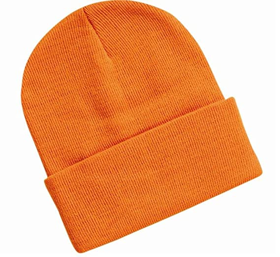 Blank Long Cuff Beanie - Orange at Amazon Men s Clothing store  Cold ... 1f5803ba5db