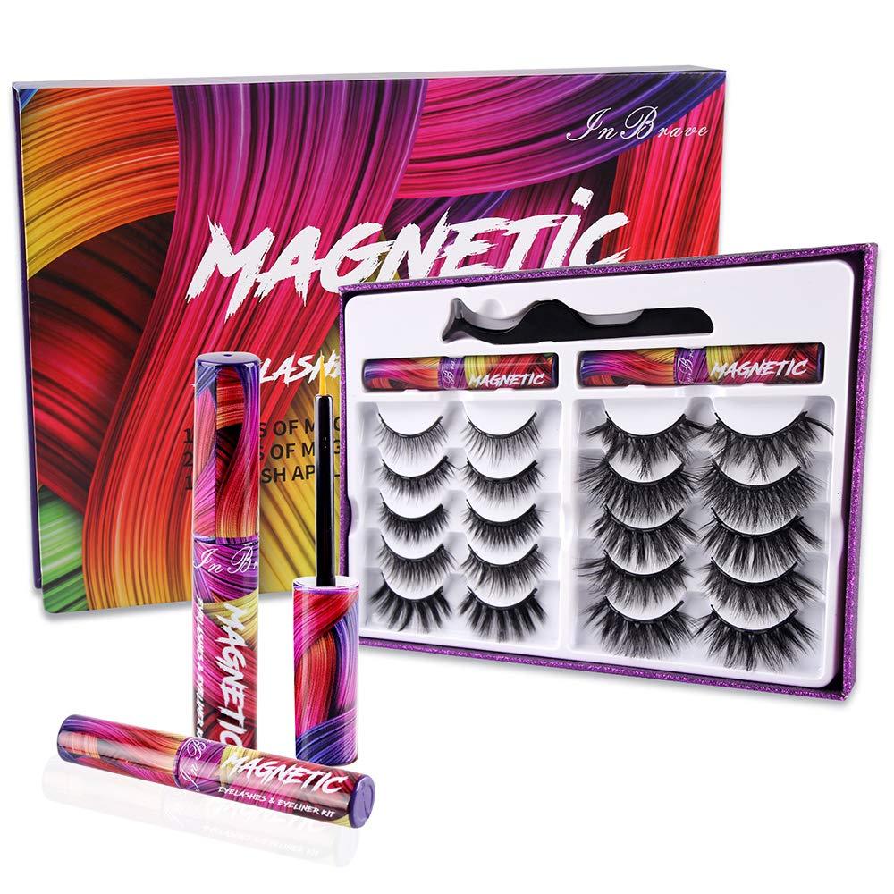 Magnetic Lashes Kit , Reusable 3D 5D Magnetic Eyelashes Set with 2 Dazzling colors Magnetic Eyeliner and Tweezer, Mink False Eyelashes Natural Look, No Glue Needed