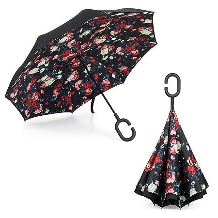 Plemo Paraguas Apertura Inversa, Paraguas de Doble Capa con Autonomía y Mango en forma de C para un uso Libre de Manos: Amazon.es: Equipaje